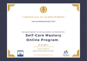 Self Care Mastery Certificate of Completion